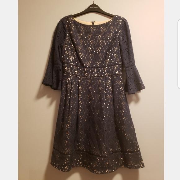 Eliza J Dresses & Skirts - Navy bell sleeve lace dress